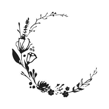 Vector elegant black and white floral wreath with white background. Hand-drawn in ink. Design wedding invitation, envelopes, greeting card template. Illustration