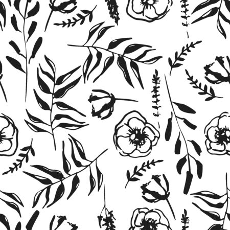 Vector seamless pattern of ink floral in retro style on a white background. Flowers, buds and leaves. Hand drawn ink.  Design for wedding invitations, envelopes, greeting card template and textile