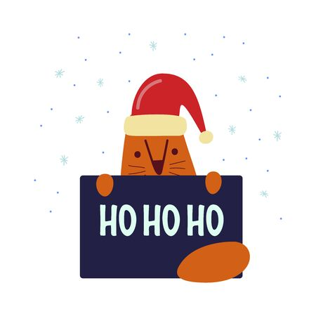 Funny cute vector illustration. Red cat in a santa hat holds a poster. Ho ho ho lettering. Christmas and New Year celebration concept. New Year mood. Design for cards, banners, posters, textiles.
