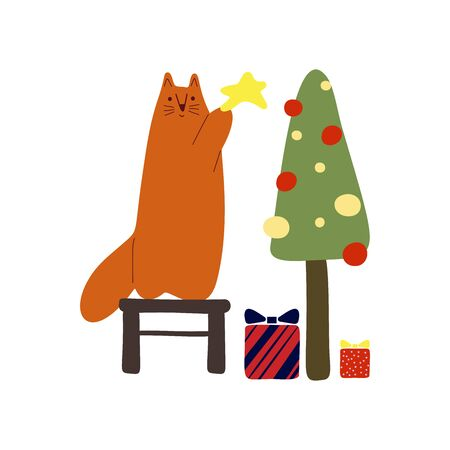 Funny cute new year vector illustration. A red cat will decorate the Christmas tree, below are gifts. Christmas and New Year celebration concept. New Year mood. Design for cards, banners, posters, tex 일러스트