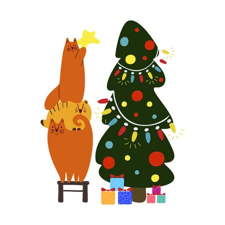 Funny cute new year vector illustration. Red cats decorate the Christmas tree. Christmas and New Year celebration concept. Christmas mood. Design for cards, banners, posters, textiles. Illustration