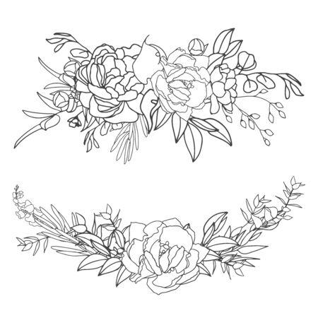Elegant arrangements in black and white with white fill. Hand-drawn big flowers. Design wedding invitation, envelopes, greeting card template. Vector illustration Standard-Bild - 139660391