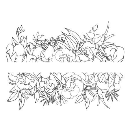 Elegant borders in black and white with white fill. Hand-drawn big flowers. Design wedding invitation, envelopes, greeting card template. Vector illustration Standard-Bild - 139660620
