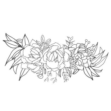 Elegant arrangement in black and white with white fill. Hand-drawn big flowers. Design wedding invitation, envelopes, greeting card template. Vector illustration Standard-Bild - 139660644
