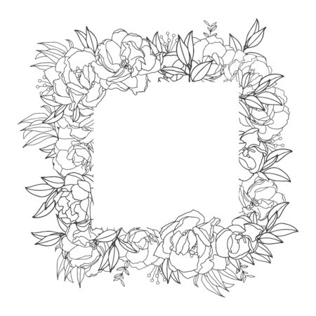 Elegant delicate floral frame. Black and white linear hand drawing. Decoration wedding invitation design, envelopes, greeting card template. Vector illustration