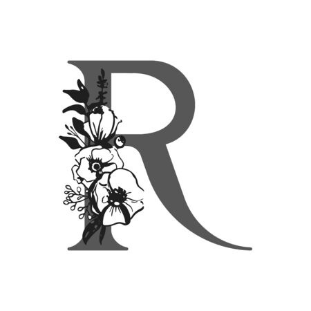 Vector flower alphabet. Design of letter R. Decoration of wedding invitations, cards, business cards of florists. Large delicate flowers in a ink style