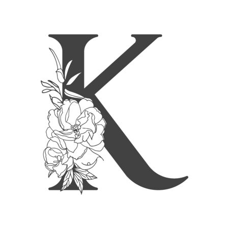 Vector flower alphabet. Floral design of letter K. Decoration of wedding invitations, cards, business cards of florists. Large delicate flowers in a line style