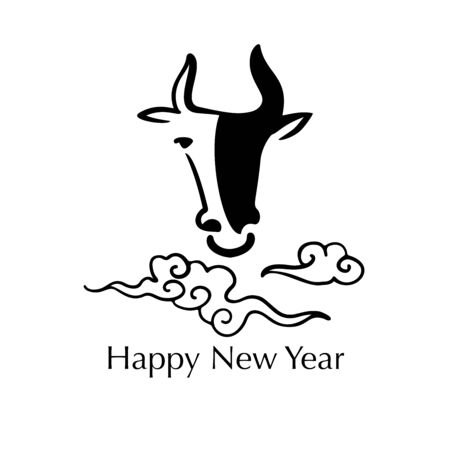 Abstract vector hand drawn image of a bull (cow) with clouds. Chinese New year concept. Banners, packaging design, greeting card.