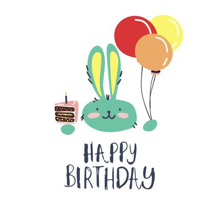 Funny cute vector hand-drawn illustration.The rabbit holds balloons and cupcake. Birthday celebration concept. Happy Birthday lettering. Design for cards, banners, posters, textiles. Vettoriali