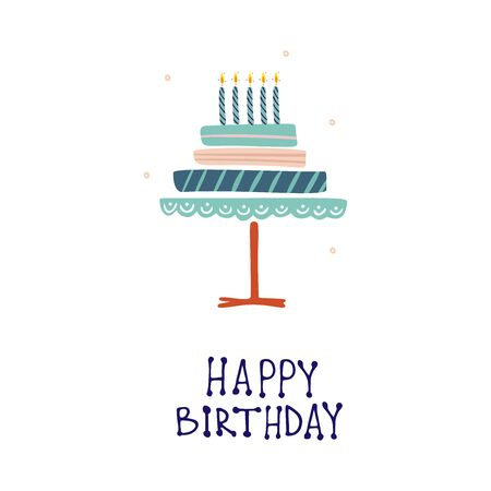 Funny cute vector hand-drawn illustration. Big cake with candles. Birthday celebration concept. Happy Birthday lettering. Design for cards, banners, posters, textiles.