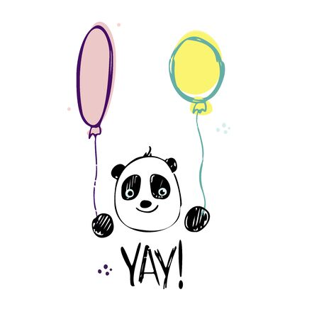 Funny cute vector hand-drawn illustration. The panda holds two balloons. Birthday celebration concept. YAY! lettering. Design for cards, banners, posters, textiles.