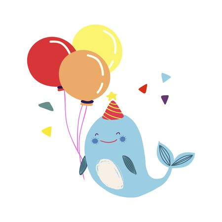 Funny cute vector hand-drawn illustration. Blue whale with balloons. Birthday celebration concept. Design for cards, banners, posters, textiles.