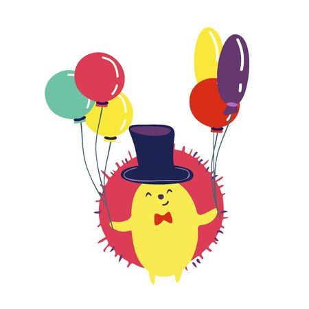 Funny cute vector hand drawn illustration. Hedgehog in a hat with balloons. Birthday celebration concept. Design for cards, banners, posters, textiles.