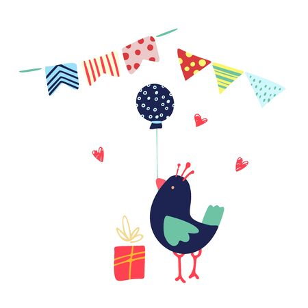 Funny cute vector hand-drawn illustration. Bright bird holding a balloon near a gift, garlands and hearts. Birthday celebration concept. Happy birthday party. Design for cards, banners, posters, textiles