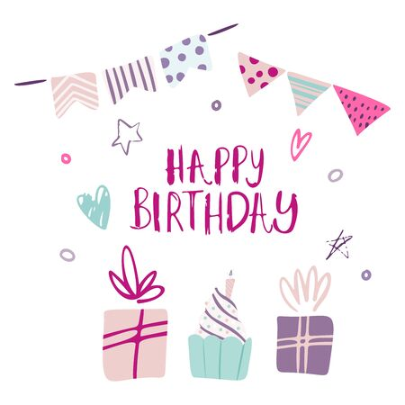 Funny cute vector hand-drawn illustration. Bright multi-colored gifts, garlands and confetti. Birthday celebration concept. Happy birthday lettering. Design for cards, banners, posters, textiles Vettoriali
