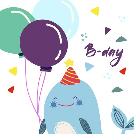 Funny cute vector hand-drawn illustration. Blue whale with balloons. Birthday celebration concept. B-Day lettering. Design for cards, banners, posters, textiles. Illustration