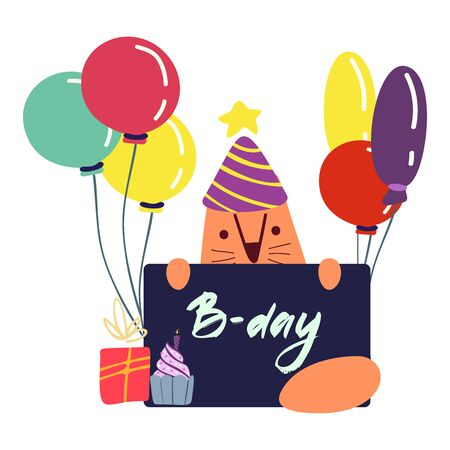 Funny cute vector hand-drawn illustration. Red cat holds a poster, next to gifts and balloons. Birthday celebration concept.D-Day lettering.Design for cards, banners, posters, textiles.