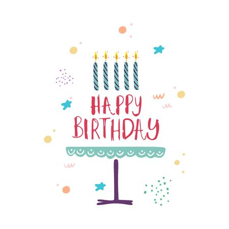 Funny cute vector hand drawn illustration. Birthday celebration concept. Happy birthday lettering. Design for cards, banners, posters, textiles.