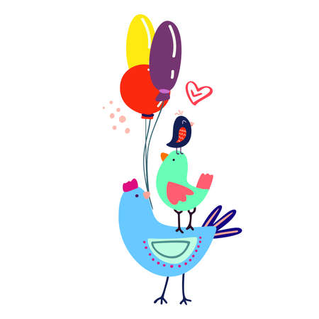 Funny cute vector hand-drawn illustration. Bright multi-colored birds carry balloons. Birthday celebration concept.Doodle. Design for cards, banners, posters, textiles.