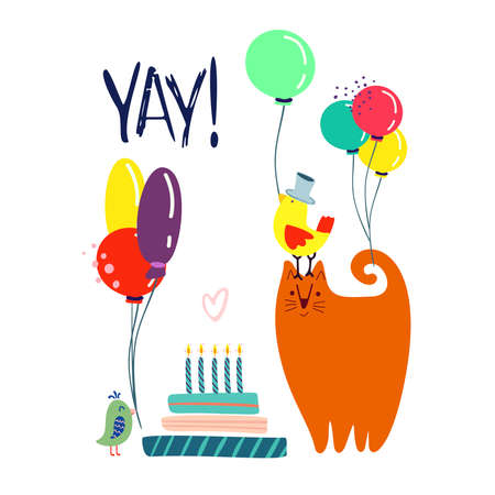 Funny cute vector illustration. A red cat and birds stands near a huge cake with balloons. Birthday celebration concept. YAY! lettering. Festive mood. Design for cards, banners, posters, textiles. Vettoriali