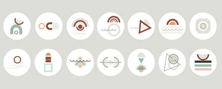 Set of various abstract geometric cover highlights for social media content. Round modern icons. Circles, arches, straight lines. Design of logos, business cards, brand books, stationery and prints.