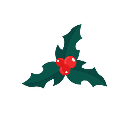 Christmas Holly plant on a white background. Flat icon of a winter plant with red berries. Holiday decor, element. Vector illustration Ilustração