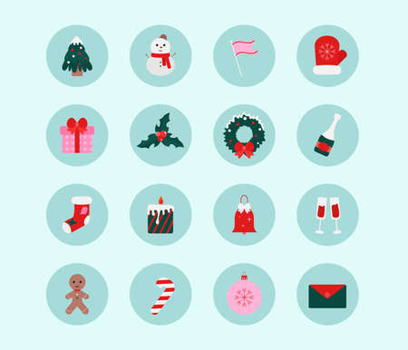 A set of Christmas icons, a set of stickers. Vector set of stickers for design, social networks. Christmas tree, snowman, gift, flag, mitten, wreath, sock, candle, bell, glasses, candy, gingerbread
