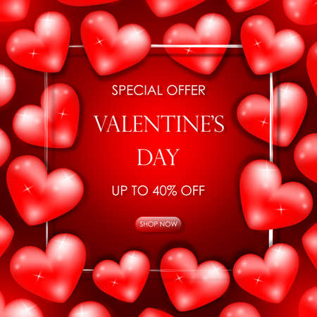Discount banner for Valentines Day. Special offer, up to 40 percent savings. Banner with red hearts, white border and lettering. Vector illustration