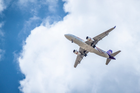 Chiang Mai Thailand -May 17 : Airbus A330-300 of Thaiairway. Landing to Chiangmai airport 17052015 Place airspace in Chiang mai Thailand Editorial