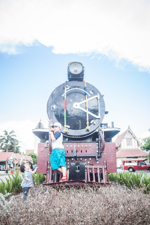 railroad station platform: Chiang Mai - Lampang Thailand -May 30: Travel by train chiangmai go to lampang 30052015 Place railway station in Chiang mai  Lampang Thailand Editorial