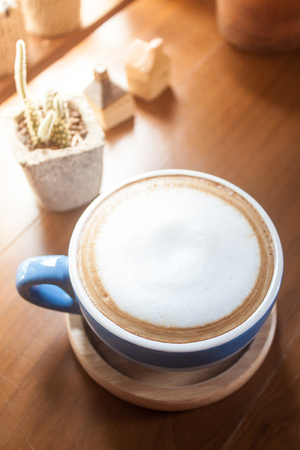 coffee table: cappuccino coffee on table Stock Photo