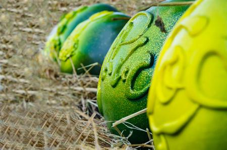 original: ripe watermelon with original pattern. Stock Photo