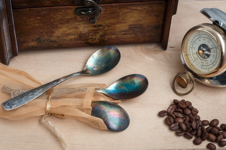 long  ago: still life, antique copper spoon, old time, three, hand pocket barometer, antique clock