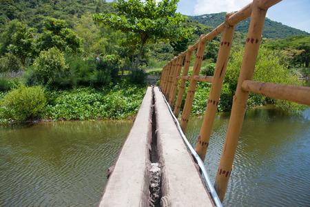 Suspension bridge, Crossing the river, ferriage in the woods