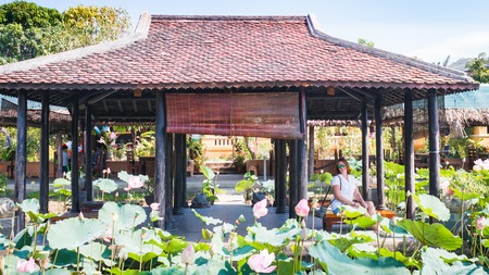 Lotus flowers and a pavilion in a garden, alcove in oriental style. 스톡 콘텐츠