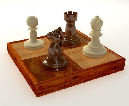 3D render of chess pieces Stock Photo