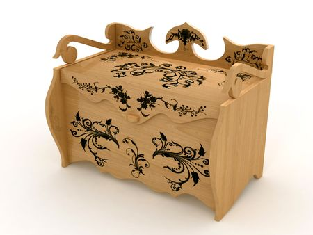 Wooden carved casket isolated on white Stock Photo