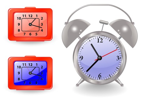 Nice metal and plastic alarm clocks Illustration