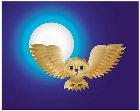 Flying owl in a moonlight Vector