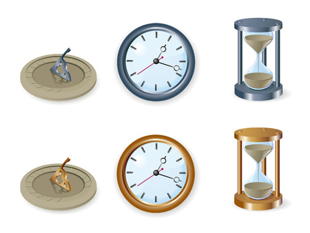 Set of various clocks Illustration
