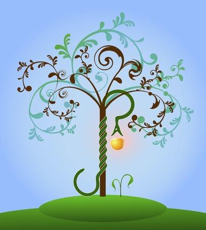 Gekleurde Bijbel boom der kennis met de slang en appel