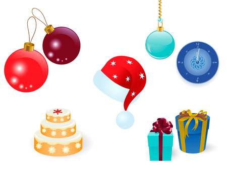 Celebration set of gifts, nice balls, clock and cap on a white Illustration