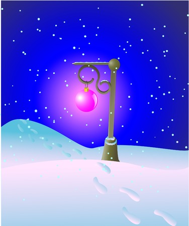 Lantern in winter night Illustration