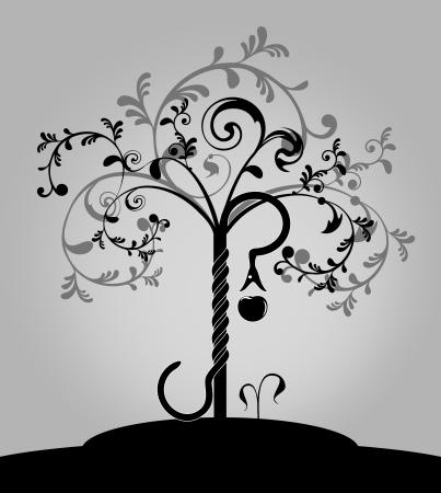 arbol de la sabiduria: �rbol del conocimiento de la Biblia con la serpiente y una manzana