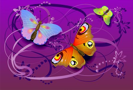 Bright butterflies on a floral background Stock Photo