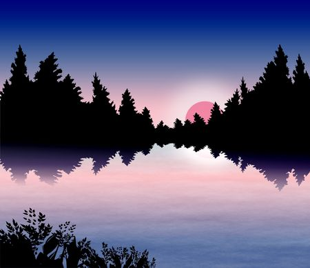 Sunset on a forest lake