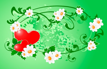 Two hearts and flowres to Valentine's Day Stock Vector - 6510293