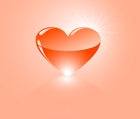 Bright, shone heart on the pink background Illustration