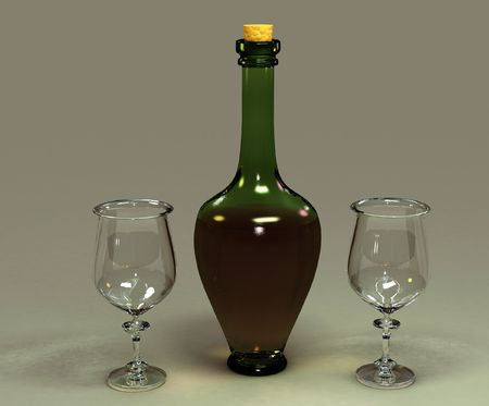Bottle of wine and two glasses Stock Photo - 6511946
