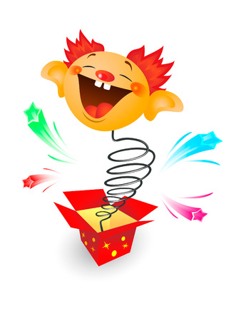 out of the box: Amusing toy jumping out on a spring from a box Illustration